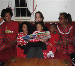 reading with 5 kids